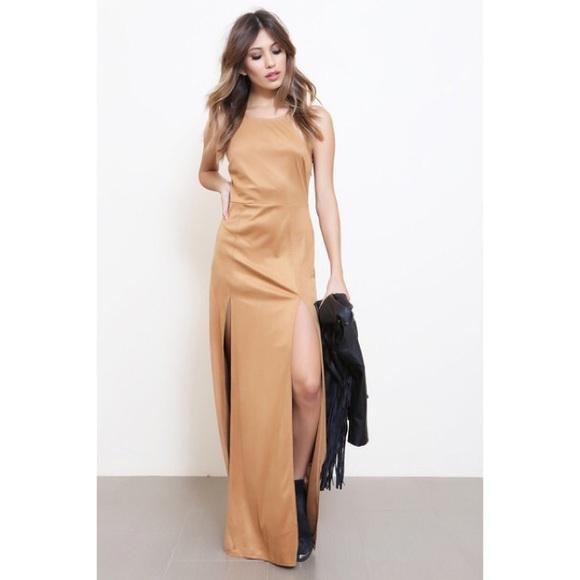 Yellow and tan maxi dress