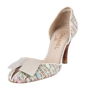 CHANEL Shoes - Chanel D'orsay tweed pump.