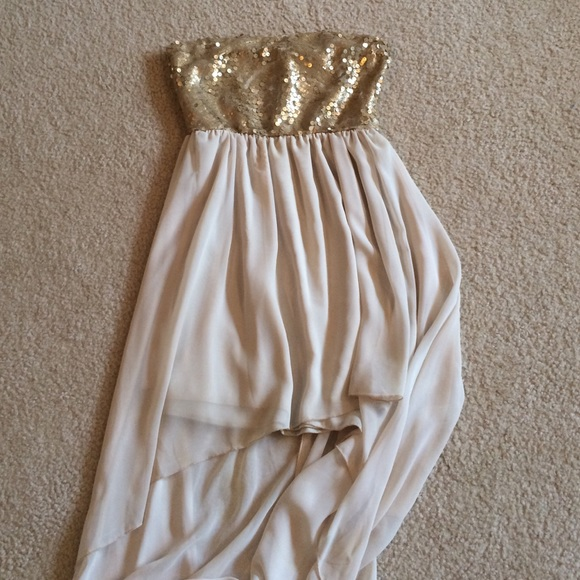 79cfad12e Dresses | Gold Sequin Cream High Low Cocktail Dress | Poshmark