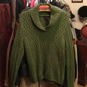 Willi Smith green cable knit sweater size L