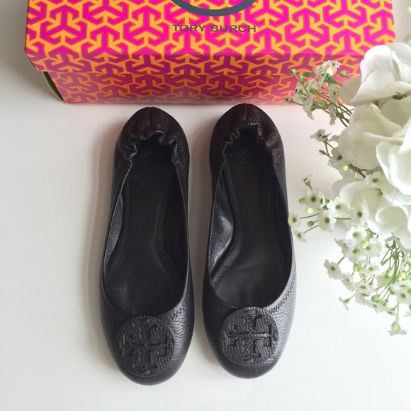 {Tory Burch} Reva Tumbled Leather Ballet Flats 7