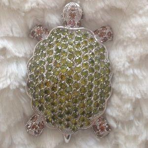 Crystal CZ turtle pin