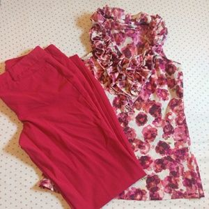 Floral Ruffle Sleeveless Top