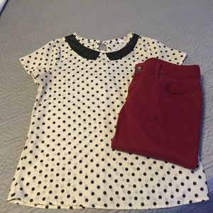Tops - Polka Dot Peter Pan Collar Top