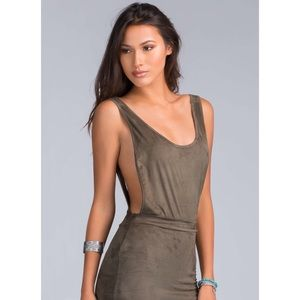 Tops - Faux Suede Olive Green Low Armhole Bodysuit 04e0f14ad