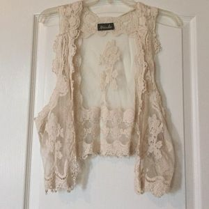 Maude Jackets & Blazers - Maude cream lace vest.