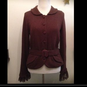 Anthropologie brown belted jacket Peter Pan collar