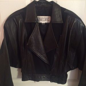 Black leather and Lycra biker style jacket