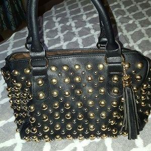Black studded doctor  satchel