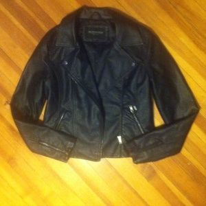 Obey Black Leather Jacket (rarely worn, like new)