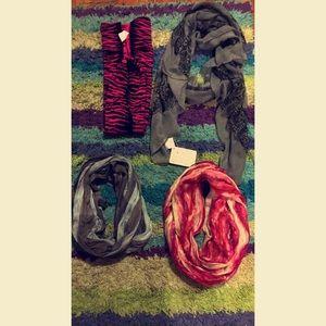 Accessories - 2 infinity scarfs, 1 winter scarf & 1 dressy scarf