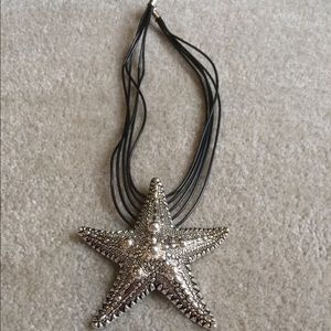 """STATEMENT STARFISH NECKLACE Leather Chain 22"""""""