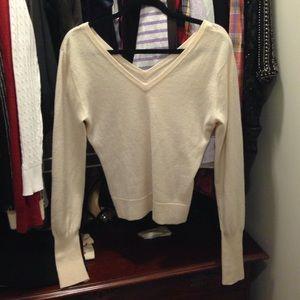 Alice + Olivia Sweaters - Alice + Olivia Double V Cream Cropped Cashmere