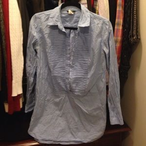 J. Crew Tops - J. Crew Tuxedo Tunic Length Shirt in Light Blue