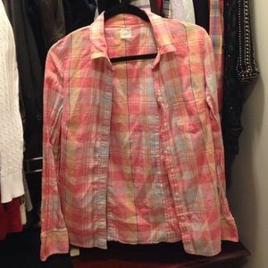 J. Crew Tops - J. Crew Pink Plaid Perfect Shirt