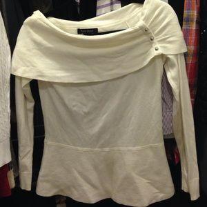 White House Black Market Sweaters - WHBM Off Shoulder Cowl Peplum Winter White Sweater