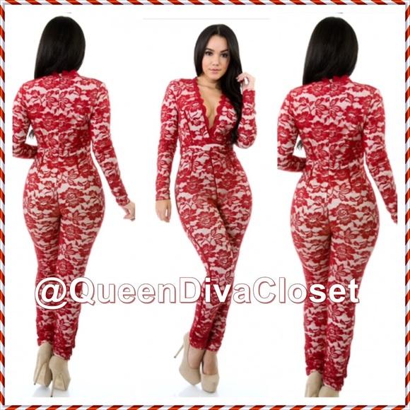 a72c9273cf2 Burgundy red long sleeve lace jumpsuit romper M