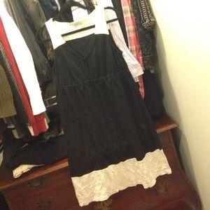 LOFT Dresses & Skirts - LOFT Black and White Color Blocked V Neck Dress