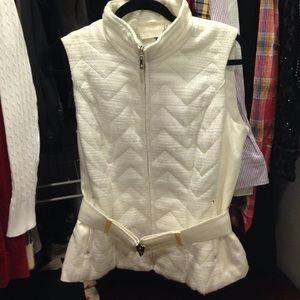 White House Black Market Jackets & Blazers - WHBM Winter White & Silver Shimmer Chevron Vest