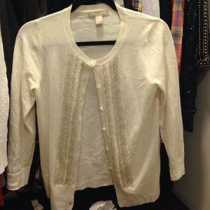 Banana Republic Sweaters - BR Cream Beaded 3/4 Sleeve Cardigan