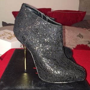 Wild Pair Shoes - Black lace bootie with gold stiletto heel!