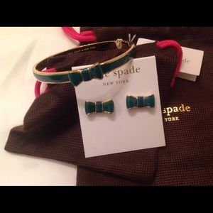 HP Kate Spade Emerald Bow Bracelet & Earrings