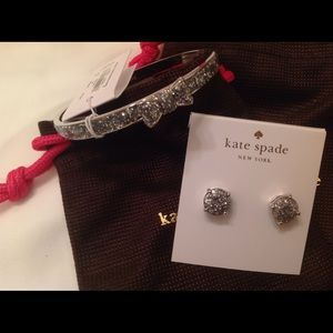 HP Kate Spade Silver Glitter Earrings & Bracelet