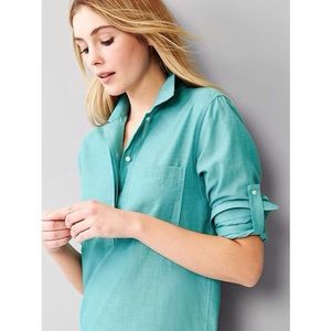 NEW GAP Roll Sleeve Popover in Teal Ocean