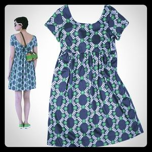 ORLA KIELY Green & Navy Floral Design Dress
