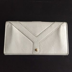 Ysl light stone color leather wallet