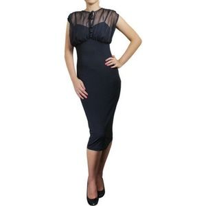 👒Bodycon Retro Stretchy Black Dress Knee-Length S