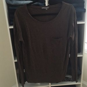 SALE! VINCE shirt- brown heathered L/S top