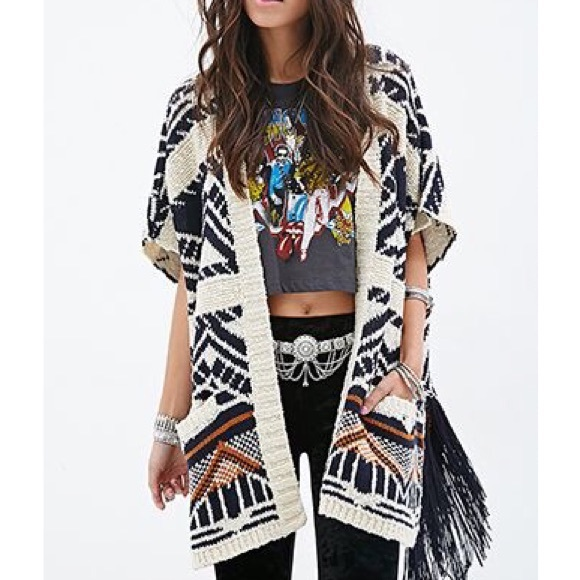 b6c835a94717b Forever 21 Sweaters - Forever 21 oversized open tribal fringe cardigan