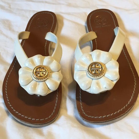Tory burch shoes sandals breely leather white flower poshmark tory burch sandals breely leather white flower mightylinksfo