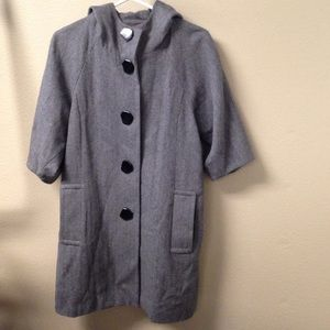Street style long duster coat w hood and pockets