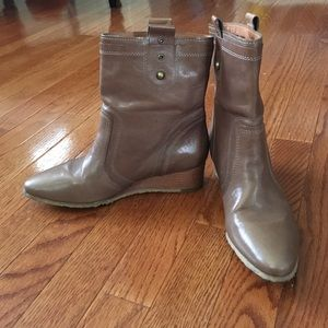 Brown Frye Wedge Ankle Boots, Size 6