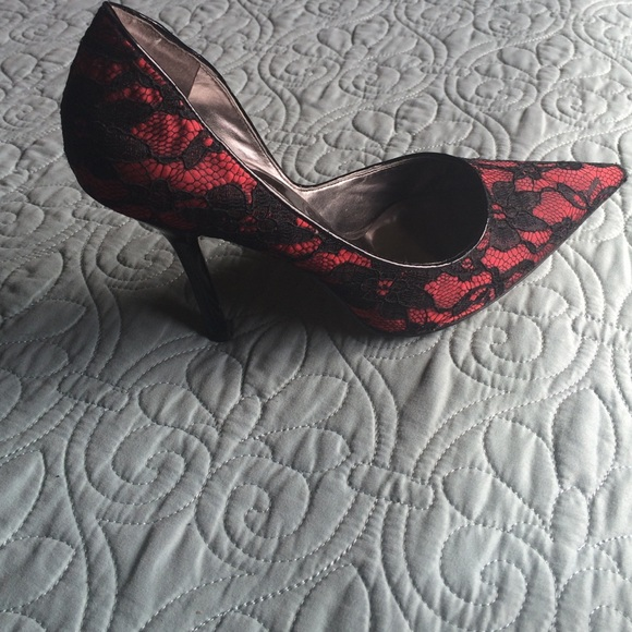 black lace red heels