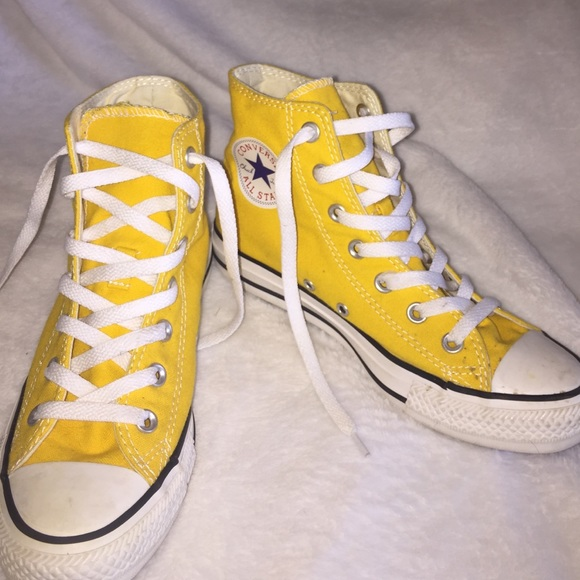 yellow converse shoes high tops