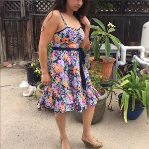 Ruffled colorful floral A Line dress
