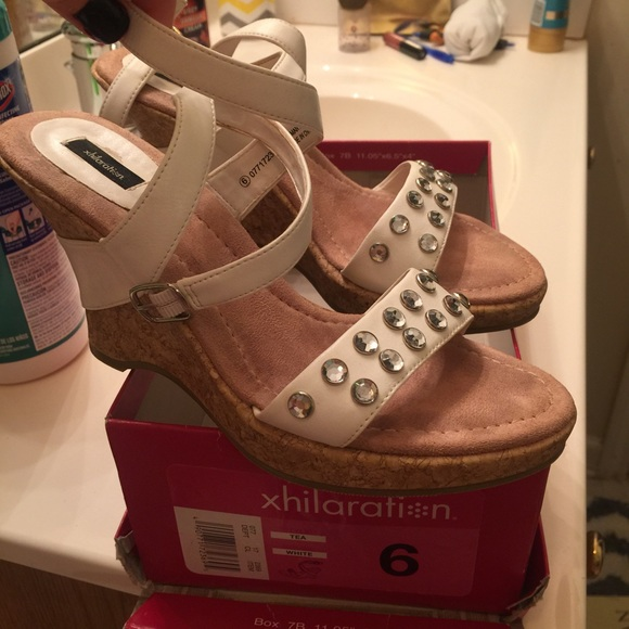 52 xhilaration shoes wedge white sandals from tina