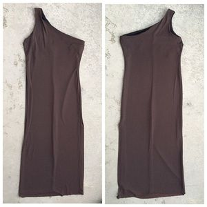 Brown Matte Jersey One-Shoulder Maxi Dress
