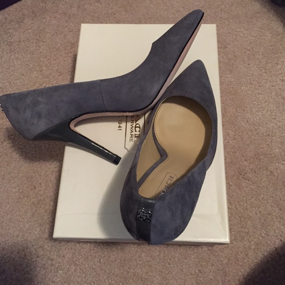 Coach Gray Suede Pointed Toe Pumps