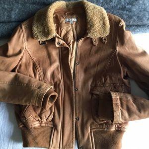 Vince Tan leather pilot jacket