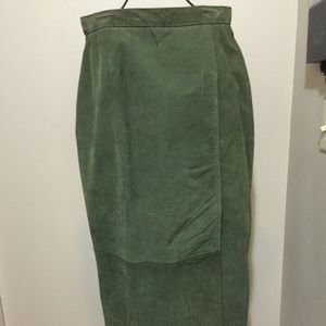Gently worn olive green suede straight skirt 