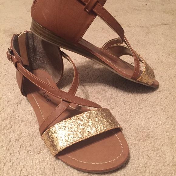 2c64aea7721de5 Brown and Gold Sparkly Sandals. M 562d562c47da814865010a21