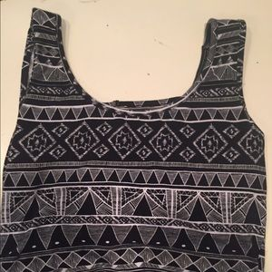 Tops - Aztec Patterned Cropped Tank