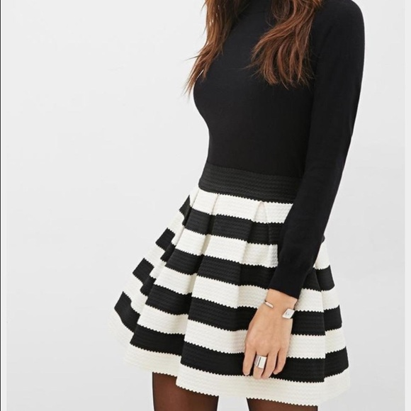 379385f2f5 Forever 21 Skirts | Nwt Black White Striped Pleated Skirt | Poshmark