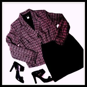 pink and black tweed blazer