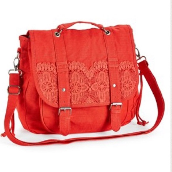 68d94a890302 Crochet Convertible backpack messenger Bag - coral