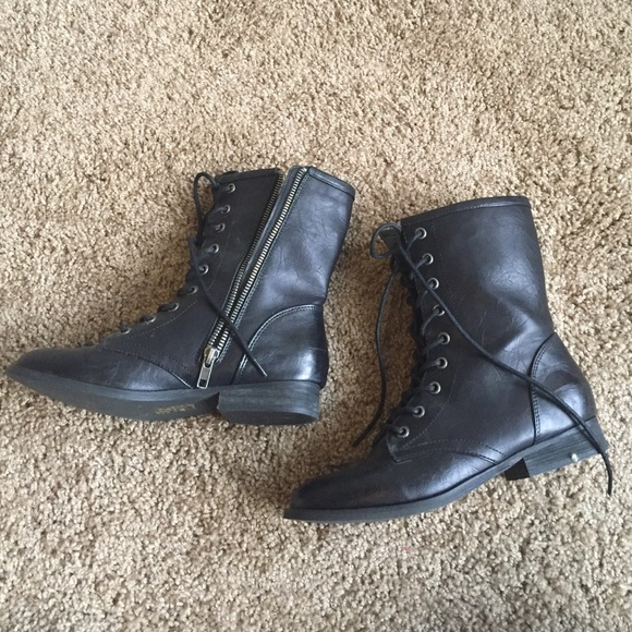 Forever 21 - F21 faux leather slim combat boots with studs from ...